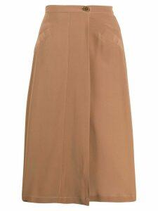 Aspesi high-waisted silk skirt - Brown