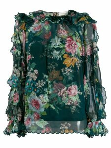 Zimmermann Wavelength Daphne-print chiffon blouse - Blue