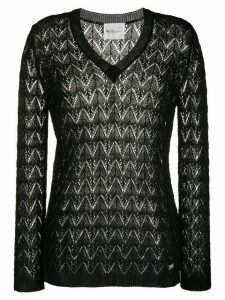 be blumarine sheer embroidered jumper - Black