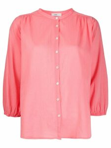 Closed collarless 3/4 sleeves blouse - PINK