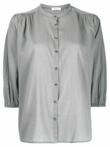 Closed collarless 3/4 sleeves blouse - Grey