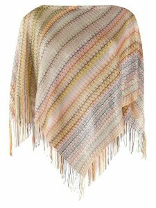 Missoni stripe-knit fringed poncho - PINK