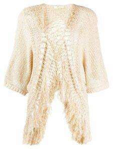 Mes Demoiselles fringed crochet cardigan - NEUTRALS
