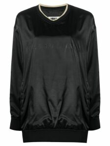 Mm6 Maison Margiela tonal logo shiny sweatshirt - Black