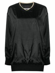Mm6 Maison Margiela tonal logo shiny sweatshirt - Black