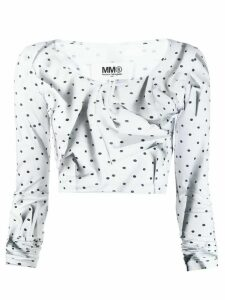 Mm6 Maison Margiela creased polka dot crop top - White