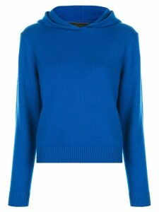 The Elder Statesman knitted hooded jumper - Blue