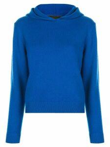 The Elder Statesman knitted hooded jumper - Blue
