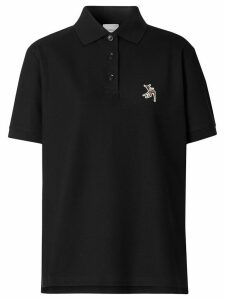 Burberry deer embroidery polo shirt - Black
