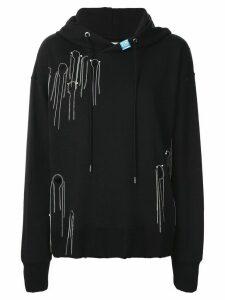 Maison Mihara Yasuhiro chain trim long-sleeved hoodie - Black