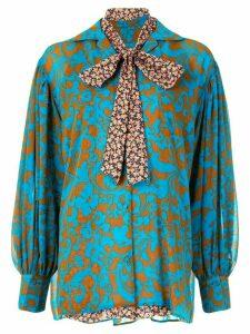 Maison Mihara Yasuhiro damask-print long-sleeved blouse - Green