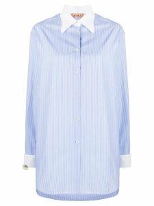 Nº21 pinstriped long-line shirt - Blue