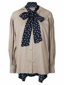 Maison Mihara Yasuhiro pussybow checked print blouse - Brown