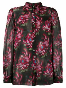 John Richmond floral-print chiffon blouse - Black