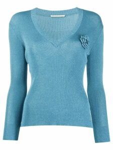 Marco De Vincenzo floral embroidered fitted jumper - Blue