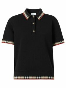 Burberry Check trim short-sleeve polo shirt - Black