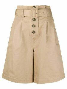Self-Portrait belted bermuda shorts - NEUTRALS