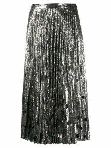 Marco De Vincenzo silk pleated flared midi skirt - SILVER