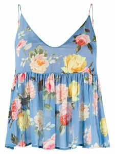 Semicouture flared floral-print top - Blue