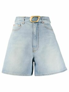 Magda Butrym belted wide-leg denim shorts - Blue