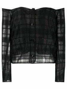 Marco De Vincenzo off-shoulder sheer check blouse - Black