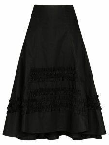 Molly Goddard ruffle-trimmed cotton midi skirt - Black