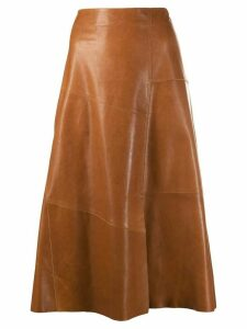 Arma A-line leather midi skirt - Brown