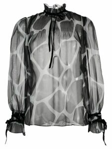 Valentino animal print sheer blouse - Black