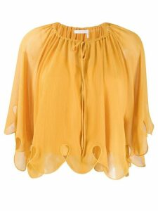 See by Chloé scalloped tied-neck blouse - Yellow