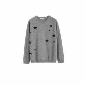 Chinti & Parker Light-grey Slouchy Star Cashmere Sweater