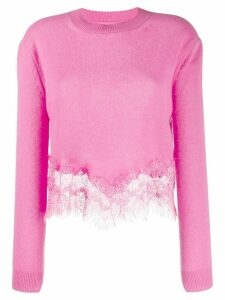 Ermanno Scervino lace-panelled jumper - PINK