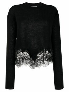 Ermanno Scervino lace-panelled jumper - Black