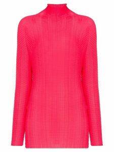 Issey Miyake high-neck crinkled top - PINK