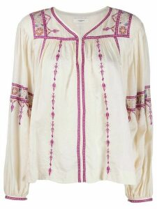Isabel Marant Étoile Tullya embroidered blouse - NEUTRALS