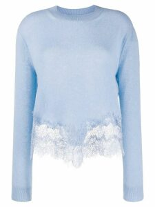 Ermanno Scervino lace-panelled jumper - Blue