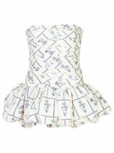 Khaite Kimmie ruched strapless top - White