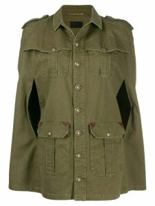 Saint Laurent military cape style jacket - Green