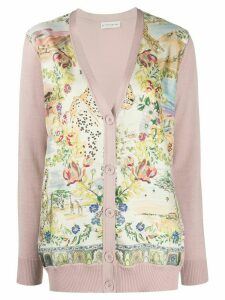 Etro satin-panelled cardigan - PINK