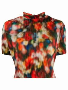 Frankie Morello blurry floral-print top - Red