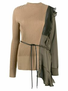 Sacai asymmetric patchwork jumper - NEUTRALS