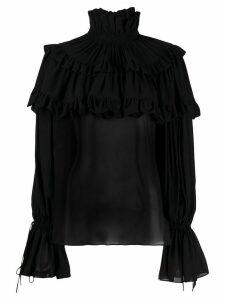 Saint Laurent tiered ruffle blouse - Black