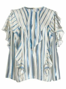 Alberta Ferretti striped ruffle trim blouse - Blue