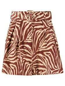 Zimmermann zebra-print silk shorts - NEUTRALS
