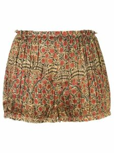 Khaite Hilary floral print draped shorts - Red