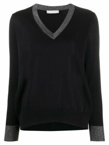 Fabiana Filippi contrast-collar fitted jumper - Blue