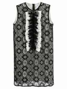 MSGM embroidered ruffle detail shift dress - Black