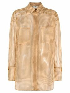 Fendi sheer checkered long-sleeve shirt - Yellow