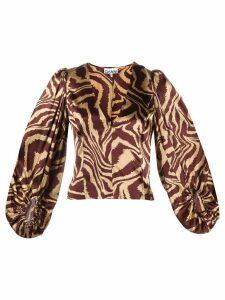 GANNI animal print blouse - Brown