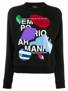 Emporio Armani crew neck abstract print sweater - Black