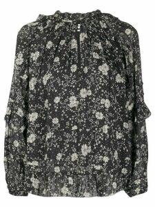 Isabel Marant Étoile floral print ruffle trim blouse - Black
